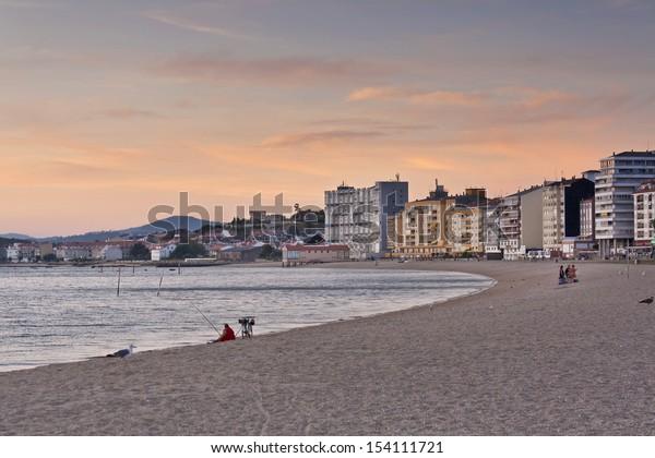 Dusk at Compostela beach on Vilagarcia de Arousa