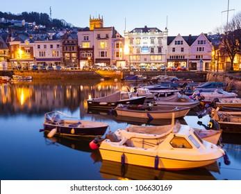 Dusk at Dartmouth Harbour South Hams, Devon England UK