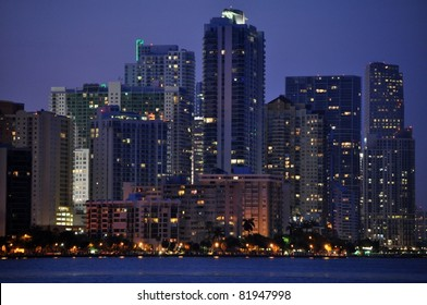 Dusk Falls on the Brickell Financial District