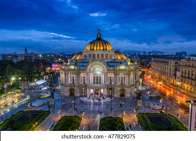 Dusk falls over the Palacio de Bellas Artes in Mexico City.