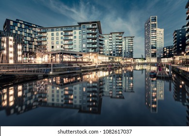 Dusk at the former Clarence Docks in Leeds, now called Leeds Dock