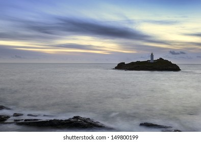 Dusk at Godrevy Lighthouse near St Ives in Cornwall