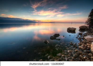 Dusk at Lago di Varano (Varano lake) on the Gargano peninsula in Puglia, Italy