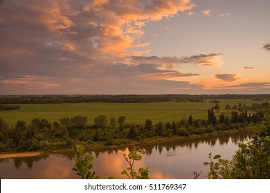 Dusk landscape of the Red Deer River, Alberta.
