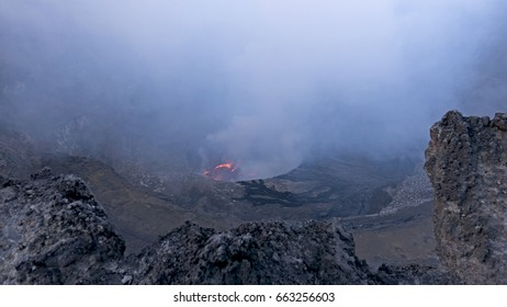 Dusk at the Lava Lake of Nyiragongo Volcano, Democratic Republic of Congo