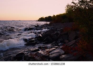 Dusk at north shore. Duluth, MN