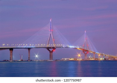dusk on the bridge of the Constitution, called La Pepa, in the bay of Cadiz, Andalusia. Spain
