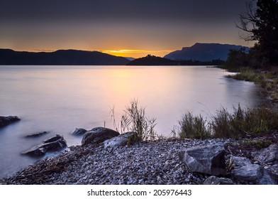 Dusk on lake of Aix les Bains