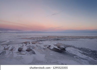 Dusk on the Sag river with distant oil wells at Deadhorse Prudhoe Bay Beaufort Sea Arctic Ocean Alaska