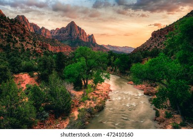 Dusk on the Virgin River in Zion, Zion National Park, Utah