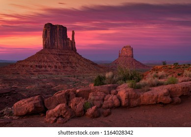 Dusk over the Mittens, Monument Valley, Arizona
