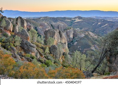 Dusk over Pinnacles National Park, California, USA. Landscape filled with volcanic rocks of pinnacles at the magical hours.