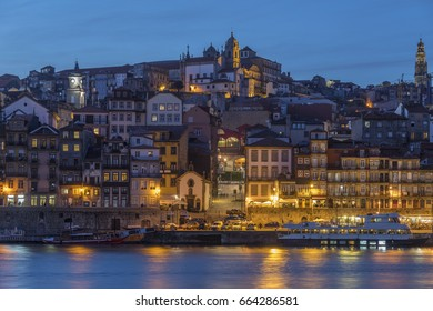 Dusk over the Ribeira waterfront in the city of Porto (Oporto) in Portugal.