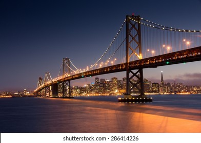 Dusk over San Francisco-Oakland Bay Bridge and San Francisco Skyline from Yerba Buena Island