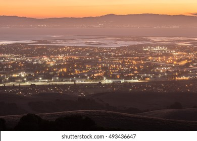 Dusk over Silicon Valley as seen from Garin Regional Park. Alameda County, California, USA.