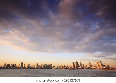 Dusk panorama city and the Port of Tokyo