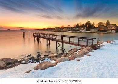 Dusk at the Pier, captured during the winter in Stony Creek, Brandford Connecticut