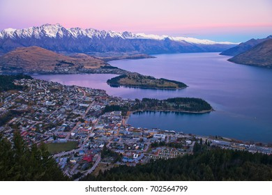 Dusk in Queenstown, New Zealand as seen from the skyline gondola. This is one of the highest points in the area and gives you beautiful panoramic views of the city.