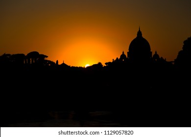Dusk in Rome, St Peters basilica in background