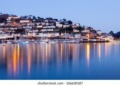 Dusk shot of Kingswear across the River Dart from Dartmouth Devon England UK