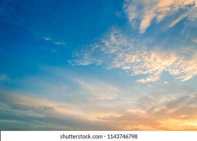 Dusk Sky Background,beautiful sunset sky cloud sunrise in the morning on summer,idyllic peaceful bright nature.