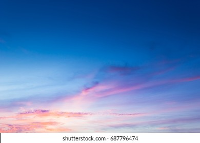 Dusk Sky in the Evening,Amazing Dramatic and Wonderful Cloud on Twilight,Majestic Dark Blue Sky Nature Background,Colorful Cloud on Sunset,Idyllic Dusk peaceful sunlight on nightfall.