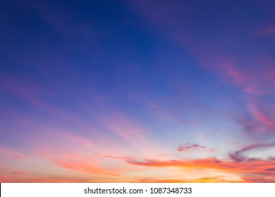 Dusk Sky in the Evening,Dramatic and Wonderful Cloud on Twilight,Majestic Dark Blue Sky Nature Background,Colorful Cloud on Sunset sky,idyllic peaceful sunlight.