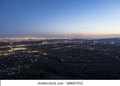 Dusk sky over Los Angeles, Pasadena and Glendale in Southern California.