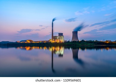 At dusk, thermal power plant, Suichang Power Plant, Jiangxi, Nanchang,