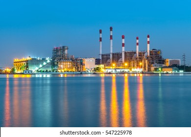 At dusk, the thermal power plant,Energy power station