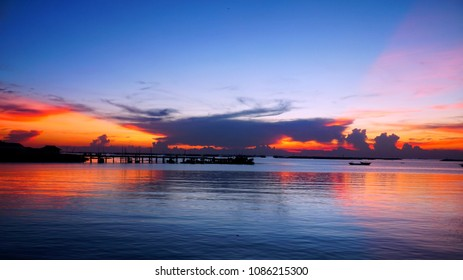 In dusk time, Summer cloudscape, seascape and blue sky. passing dusk sunset sky cloudscape over the sea, panorama view of wonderful nature ,seascape for background.