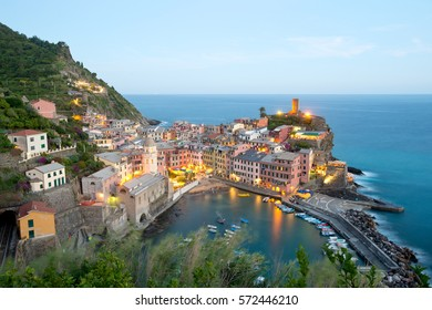 Dusk in Vernazza, Cinque Terre, Italy
