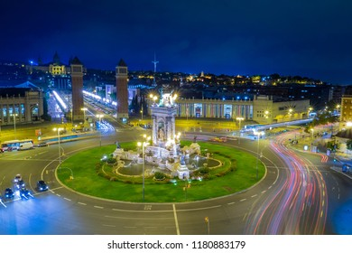 Dusk view of Barcelona, Spain. Plaza de Espanya roundabout