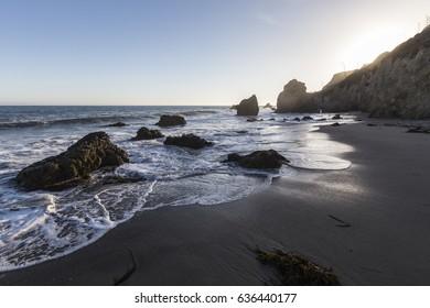 Dusk view of El Matador Beach in Malibu California.