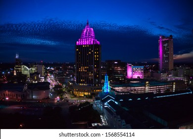 Dusk view of Mobile, Alabama in Fall