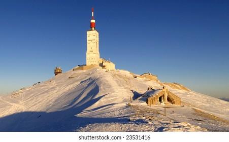 Dusk in winter at Mont Ventoux summit