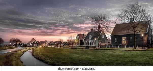 Dusk In Zaanse Schans. A typical dutch landscape on famous old town Zaanse Schans.