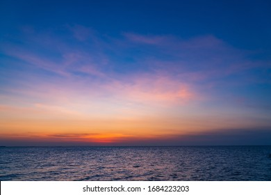 Dusk,Evening sky with colorful sunlight,Beautiful sunset cloud over sea on twilight,majestic peaceful nature background.