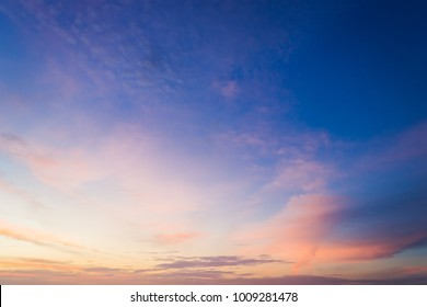Dusk,Sunset Sky in the Evening,Dramatic and Wonderful Cloud on Twilight,Majestic Dark Blue Sky Nature Background,Colorful Cloud on summer season,Idyllic Peaceful Sunlight.
