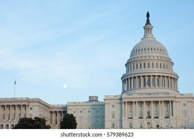 Dusky U.S. Capitol with moon