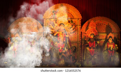 Dussehra- Holy Smoke - Durga Idol At Puja Pandal Kolkata