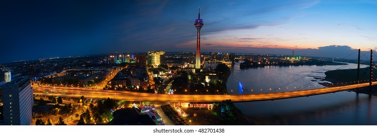 dusseldorf areal view at night