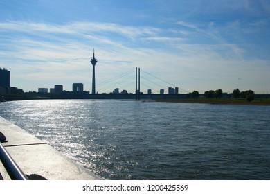 Dusseldorf bridge over the Rhine. bridge on the Rhine river. Dusseldorf, North Rhine-Westphalia