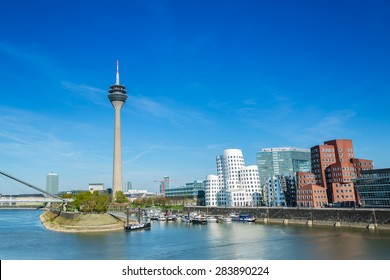 Dusseldorf cityscape with view on media harbor, germany
