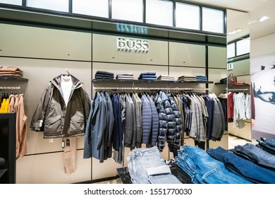 DUSSELDORF, GERMANY - 19 OCTOBER, 2019: Interior shot of Hugo Boss store in Breuninger luxury shopping mall at Schadowplatz in city center Dusseldorf, Germany