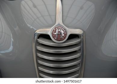 Dusseldorf, Germany - April 12, 2019: Alfa Romeo 6C 2500 SS Pininfarina classic 1940s Italian old retro vintage expensive coupe car radiator grille emblem badge