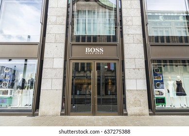 Dusseldorf, Germany - April 16, 2017: Hugo Boss store located in a modern building in Dusseldorf, Germany