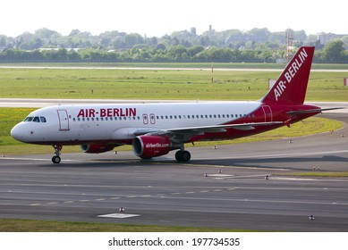 Dusseldorf, Germany - April 22, 2011: Air-Berlin Airbus A319-112 on the airfield of DUS airport.
