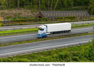 DUSSELDORF ,GERMANY - APRIL 25, 2017: transport truck on the highway on April 25,2017 in Dusseldorf, Germany. truck on asphalt road