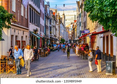 DUSSELDORF, GERMANY, AUGUST 10, 2018: People are passing through center of Dusseldorf, Germany